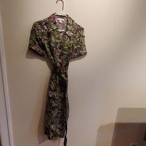 Vintage-Style Tropical Print Dress